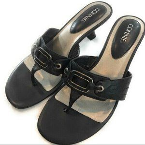 Connie Womens Black Slip On Open Toe Heels, 8 1/2,